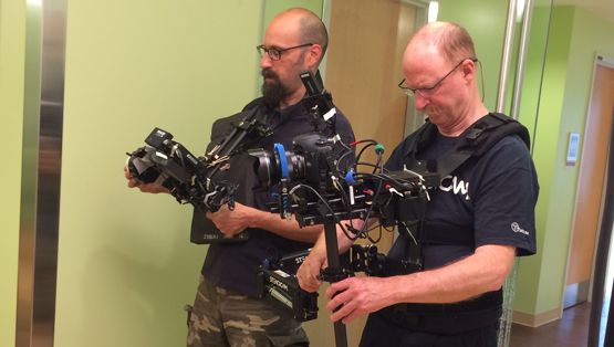 Paladin Crew filming at the University of Virginia Health System using a steadicam.