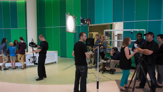 Filming at the University of Virginia Health System's beautiful Battle Building.
